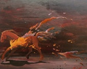 "Small, Running Horse, Original Acrylic on Panel, 18""x12"""