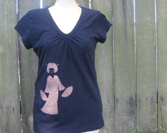 Women's Geisha Japanese Asian design Black T shirt