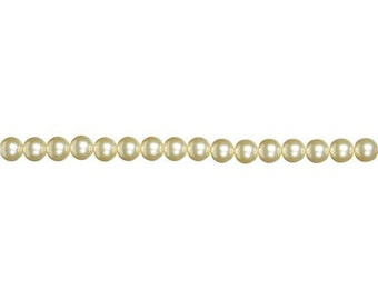 4mm Cream Glass Pearl Beads (2 Strands)