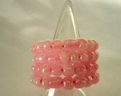 Pink Pearly Ring Memory Wire Expandable Glass Rocaille seed bead ring app Size Q by JulieDeeleyJewellery on Etsy