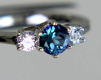 Neptune Garden Topaz Round in an Accented Sterling Silver Ring