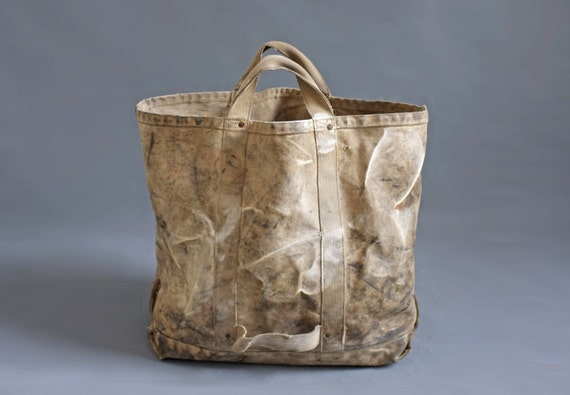 Vintage Heavy Duty Canvas Tote lineman coal bag
