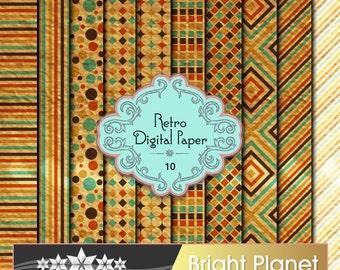 "Retro Digital Paper Pack - 10 Patterned Digital Paper Pack  12"" by 12"" 300dpi - Old Retro Designs"