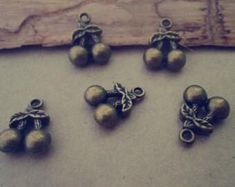 20pcs of Antique bronze cherry pendant charm 11mmx14mm