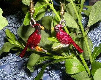 Hand Painted Cardinal   Earrings