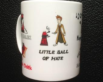 Dr. Who David Tennant Red Dalek Soft Kitty inspired Mug