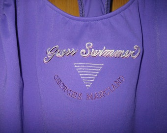 vintage purple 'Guess by Georges Marciano' one piece swimsuit . . . . . size 11/12 . . . . .  never worn