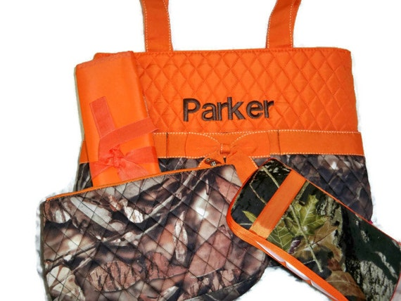 items similar to personalized 4 piece diaper bag set with name baby boy camo and orange. Black Bedroom Furniture Sets. Home Design Ideas