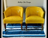 Pair of Vintage Yellow Leather Club Chairs- RESERVED FOR ANNA