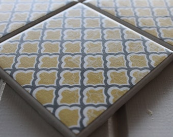 Yellow and Grey Morocco Coasters Four Piece Ceramic Tile Set