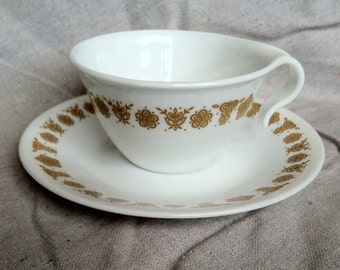 Vintage Corn Butterfly Pattern Corelle by Corning Teacups and Saucers- Set of 2