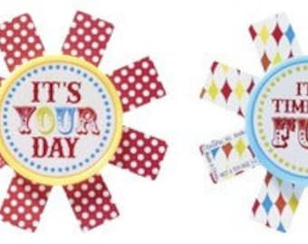 Carnival ~ Circus ~ It's Your Day ~ Cupcake Ring Toppers Party Favors