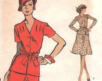 70s Two-Piece Dress Pattern Vogue 8614 Size 10 Uncut