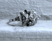 RESERVED - Amazing Vintage Art Deco Platinum Diamond Ring.