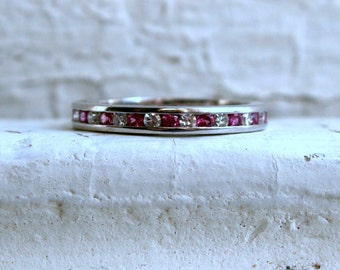 Vintage 14K White Gold Ruby and Diamond Eternity Wedding Band.
