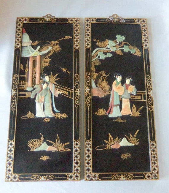 vintage black lacquered wall art panels mother of by. Black Bedroom Furniture Sets. Home Design Ideas