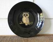 Vintage owl plate, Couroc, Halloween decoration