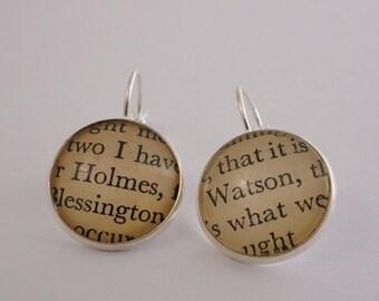 Sherlock Holmes earrings 'Holmes' and 'Watson' silver earrings