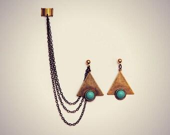 triangle ear cuff turquoise matrix earrings, chains ear cuff, geometric ear cuff, ear cuff with chains