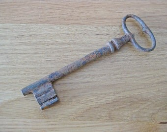 Antique French key, huge iron key over 6 inches long
