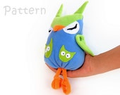 Sewing owl toy pattern Soft toy blue  felt toy kids PDF Sewing