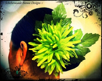 Green Spider Mum hair clip for flamenco, tribal belly dance, ATS, Hula dance mounted on aligator clip