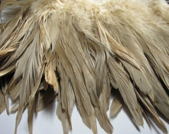 Rooster Schlappen Hackle Feathers - Tan (7 - 9 inches)