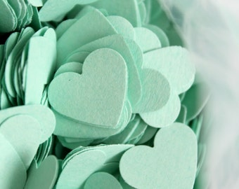 500 MINT GREEN Hearts Die cuts punches cardstock 5/8 inch -Scrapbook, cards, embellishment, confetti