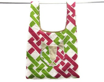 handmade eco friendly grocery bag  - pink & green lattice w/ cat pocket, washable, durable