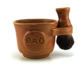 Gift for Dads: Mens Shaving Set with Black Badger Shave Brush, Brown Mug with DAD Plaque, Shave Soap, Handmade Pottery - Made to Order