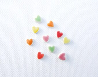 Tiny heart earrings ceramic colourful glaze hypoallergenic stud posts, Valentine's gift