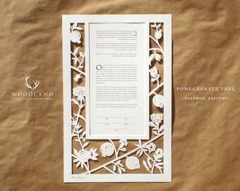 Pomegranate Tree papercut ketubah | wedding vows | anniversary gift