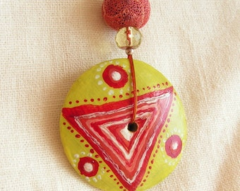 Hand painted carved wooden pendant coral balls glass beads yellow red silver circle circles triangle jewelry