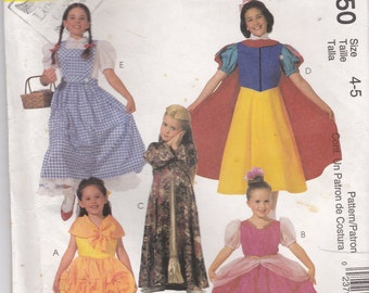 2000s McCalls No 2850 Girls Classic Character  Costumes Dress Pattern Size 4-5 Bust 23-24 inch