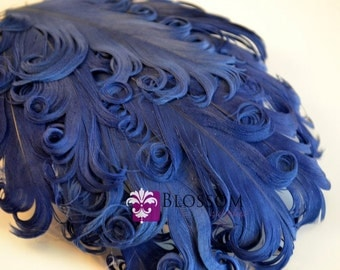 1 Curly Nagorie Feather Pad - Goose Feather Pad - Navy Blue - DIY Headband Hair Clip Hat Wedding Supplies - newborn photo prop - dark blue
