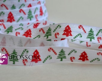 2 or 5 Yards CHRISTMAS Tree 5/8 Inch Printed Fold Over Elastic - foe - Red Green White - Candy Cane - Holiday Elastic - DIY Headbands