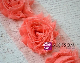 1/2 or 1 YARD Increment - CORAL - Chiffon Shabby Rose Trim - Frayed Flowers - Headband Flowers - frayed roses wholesale craft supplies