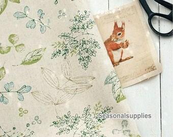Half Yard Cotton Linen Fabric,Craft, leaf,Tree,Printing,Pattern,Vintage Style,diy,Sewing (C314)