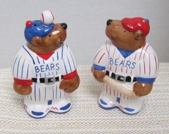 Baseball Fan Great Salt & Pepper Set Red White and Blue  Baseball Bears c1990