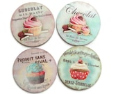 Chocolat, Cupcakes Sweet Patisserie Coasters, Set of 4 Vintage Styled Coasters, UK - missbohemia
