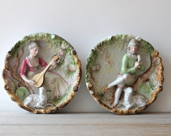 Two cottage chic vintage Victorian style wall plates / pastoral romantic country cottage home decor / Japan / lamb / country rustic pastels
