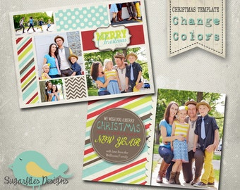 Christmas Card Template PHOTOSHOP TEMPLATE - Family Christmas Card 81