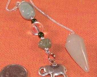 Dowsing Pendulum Green Aventurine and Lucky Elephant New Age Pagan Magick 135943P