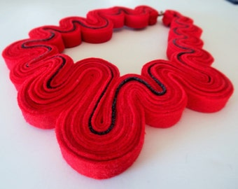 SALE Statement Necklace Felt Necklace Felted Jewelry Recycled Eco Friendly Felt Bib Necklace In Red