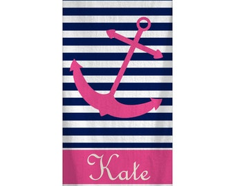 Personalized Nautical Anchor Beach Towel 30x60