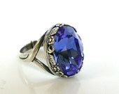 Sapphire Solitaire Ring Victorian Gothic Silver Ring Sapphire Swarovski Ring Victorian Gothic Jewelry