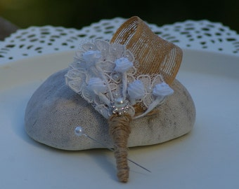 Shabby Chic Burlap and Lace Boutonniere