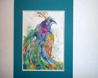 Original Peacock Abstract, matted watercolor