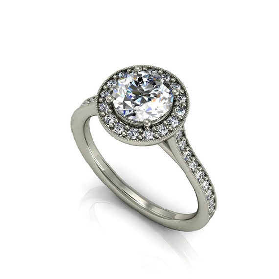 Moissanite engagement ring with diamonds & by fabiandiamonds