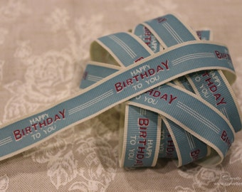 EAST OF INDIA vintage word ribbon - happy birthday to you - 3 metres